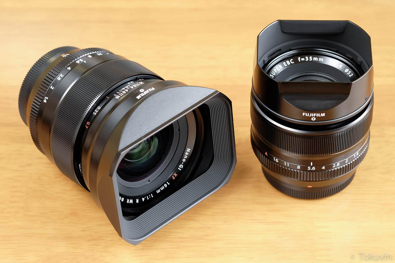 FUJIFILM フジノン XF16mmとXF35mm。