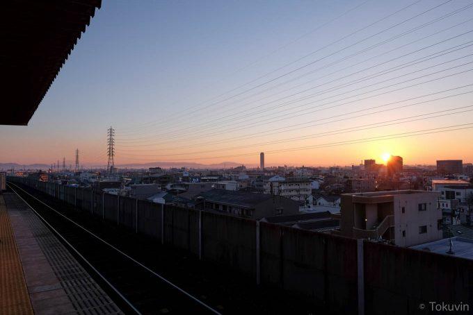 小田井駅からの初日の出