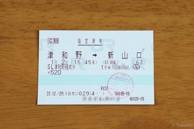 帰りの指定席券