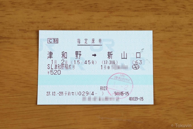 帰りの指定席券。