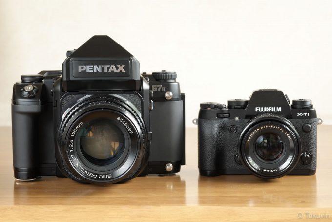 PENTAX67とX-T1を正面から