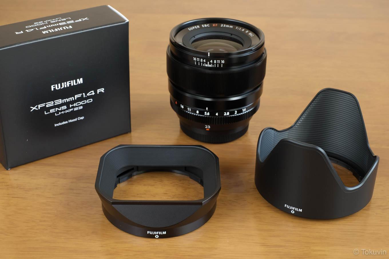 FUJIFILM XF23mmと純正の花型&角形フード。