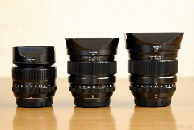 XF35mm XF23mm XF16mmの3本を並べて