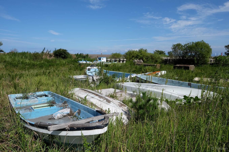 伏木港の近くの草地に転がる小舟。