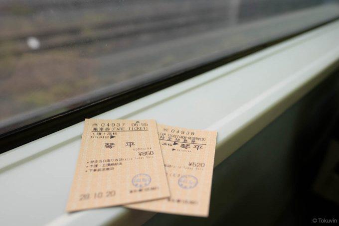 琴平までの乗車券と特急券