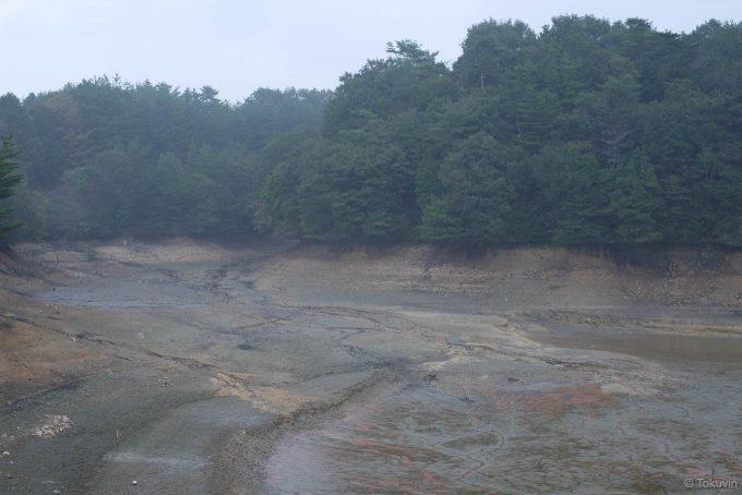 水の抜かれた新池
