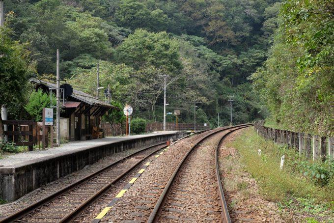 土讃線と行き止まりの坪尻駅ホーム
