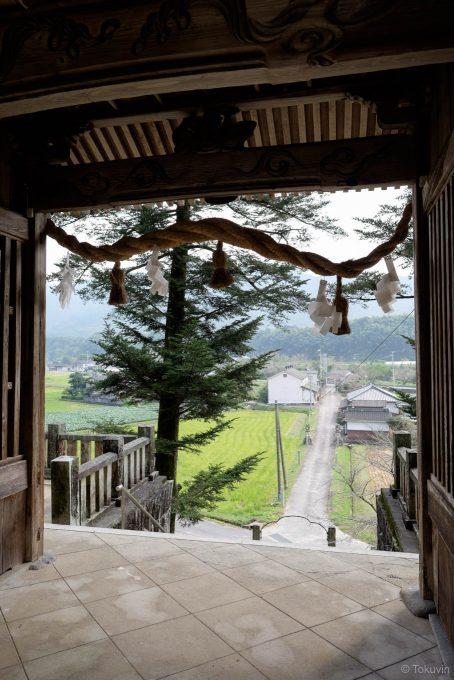 鷲尾神社の門から眺める参道
