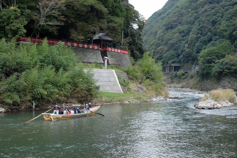 請田神社と保津川下り。