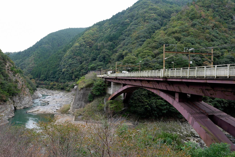 駅前から眺める橋梁上ホーム。