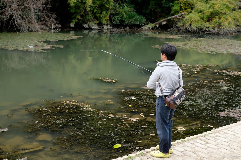 南郷公園で釣りをする少年。