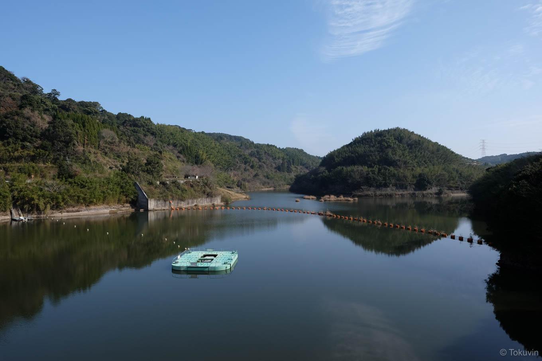 堤体上から眺める八柳湖。