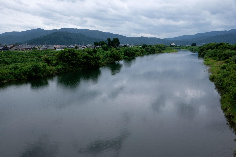穏やかな流れの足羽川。