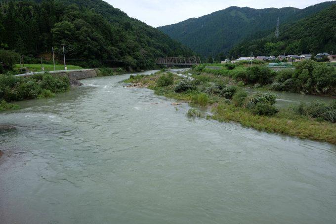 2つの町を隔てる足羽川(奥に越美北線と小和清水の集落が見える) (FUJIFILM X-T1 + XF16mm F1.4R)