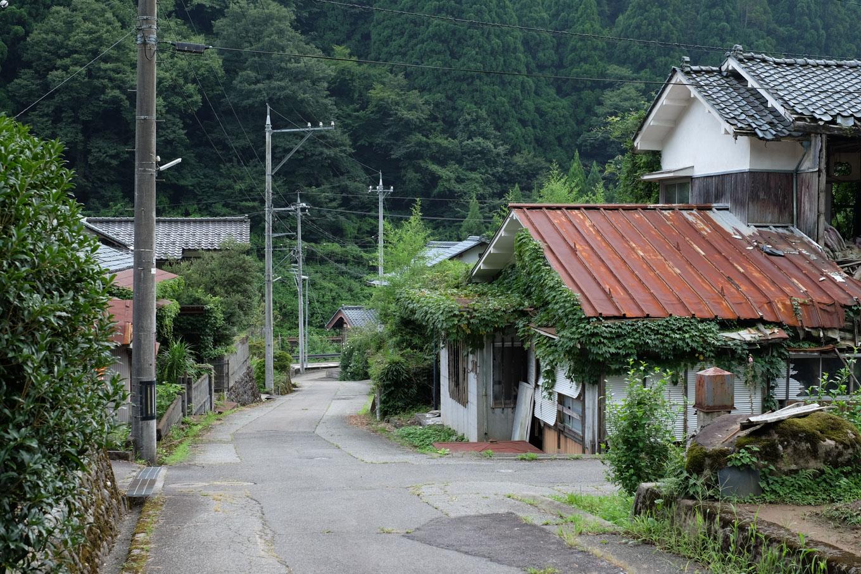 薬師集落の家並み。