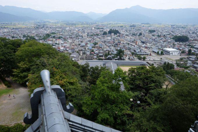 天守閣から駅方面を眺める (FUJIFILM X-T1 + XF16mm F1.4R)
