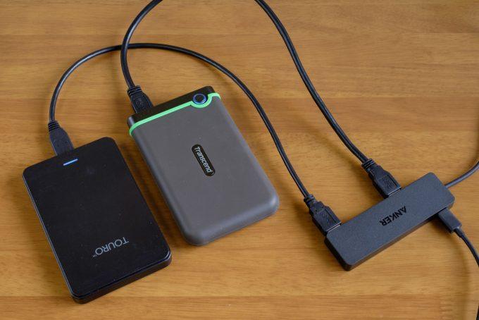 ポータブルHDDを2台接続