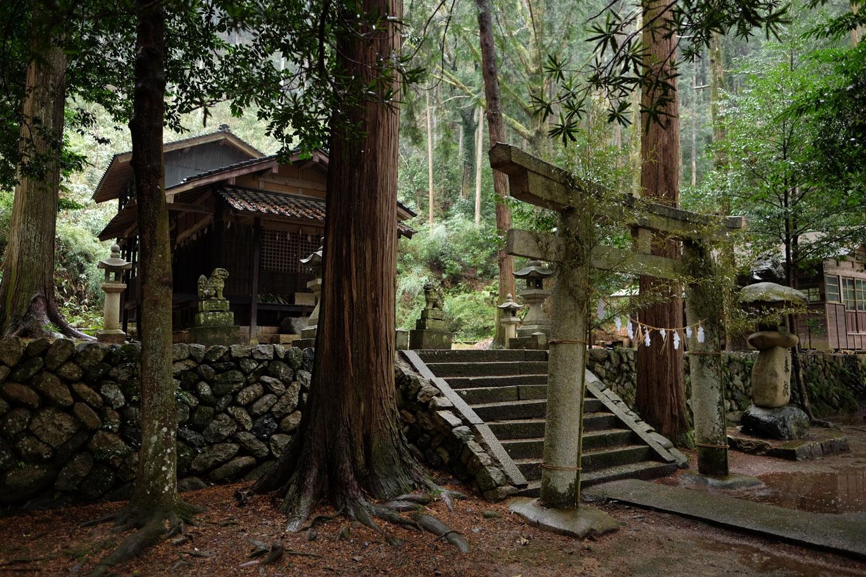 雨音に包まれた鷹狩神社。