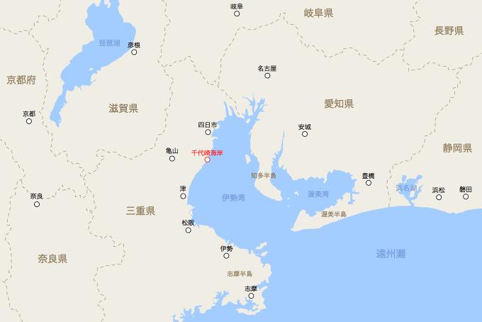 地図上における千代崎海岸の位置