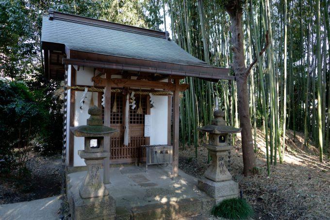 竹林の中にある夜苗神社 (FUJIFILM X-T1 + XF16mm F1.4R)