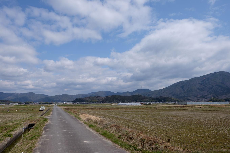 駅対岸には農地が広がる。