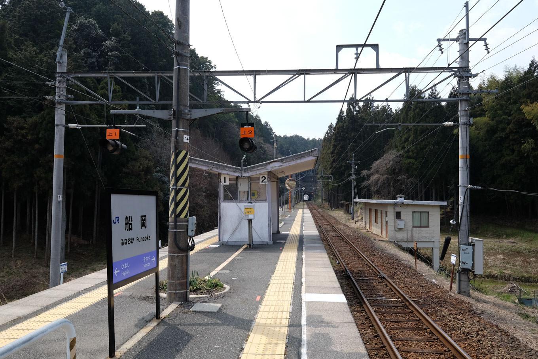 築堤上にある船岡駅。