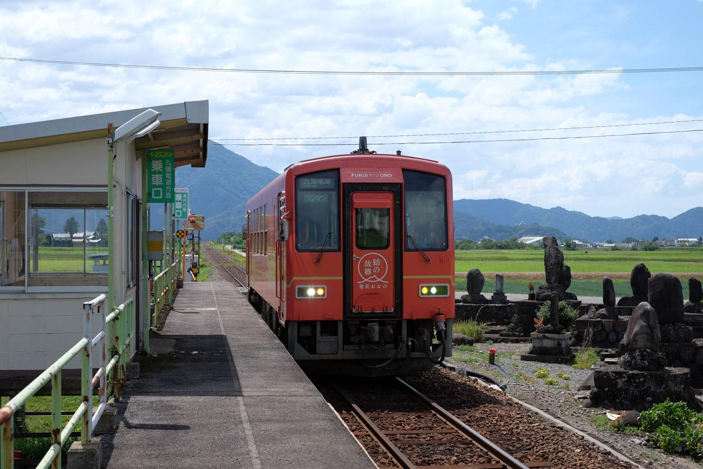 越前田野駅に入線する、普通列車の九頭竜湖行き 727D。
