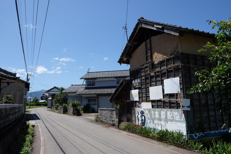 田野地区の家並み。