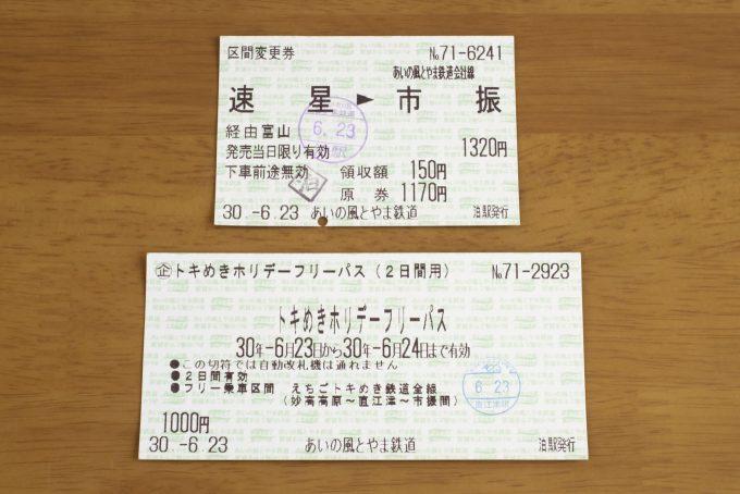泊駅発行の区間変更券とトキめきホリデーフリーパス