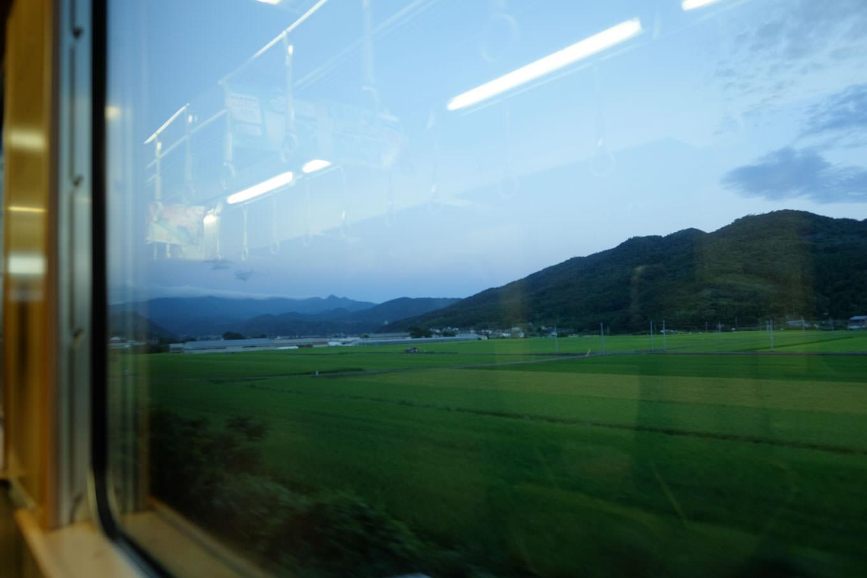 徐々に明るくなる車窓に緑あふれる景色が広がる。