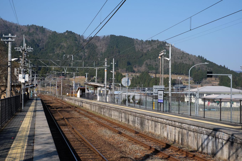 暖かそうな日差しに照らされた安栖里駅構内。