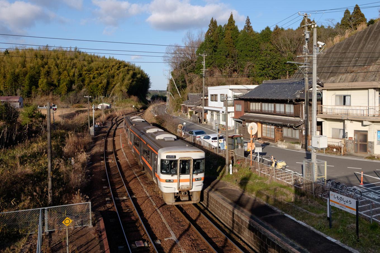 やや赤みを帯びた太陽に照らされながら、下庄駅に入線する新宮行き335D。