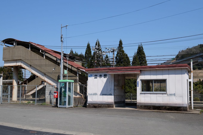 プレハブ小屋のような立木駅舎。