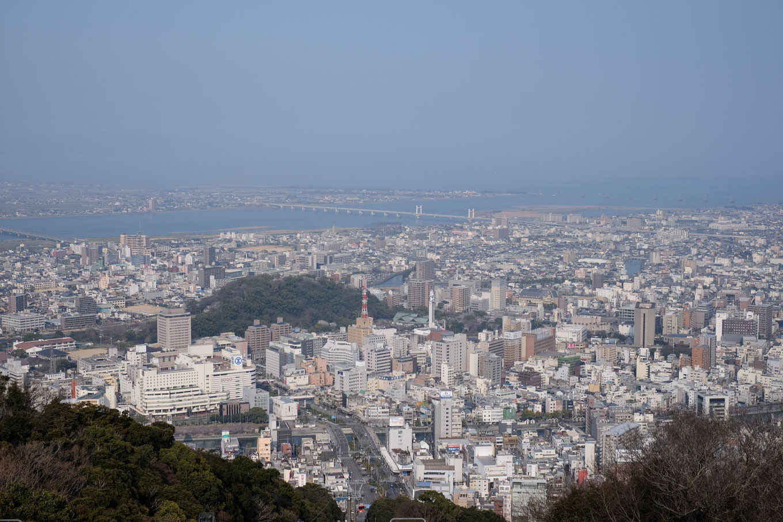 眉山からの眺望。奥に向けて新町川・徳島駅・城山・吉野川と連なる。