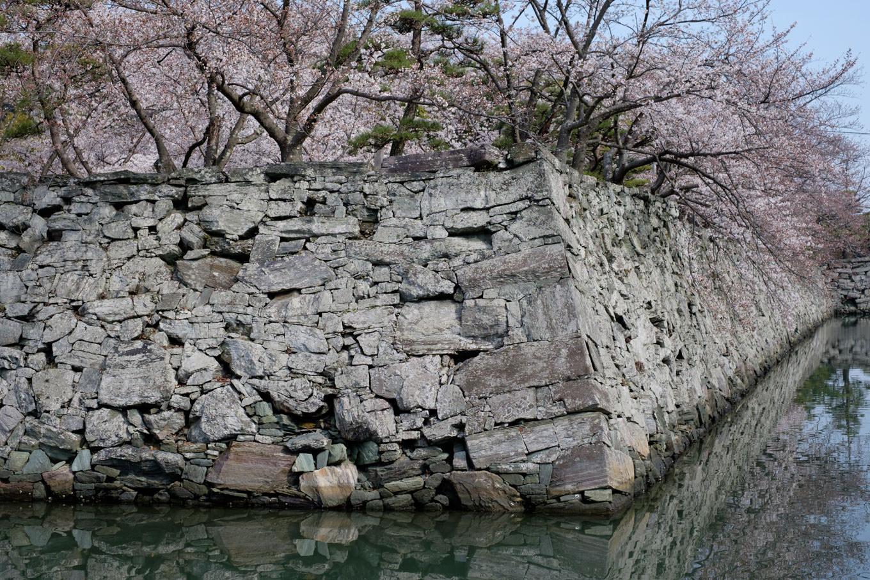 緑色片岩の石垣。