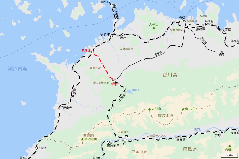土讃線の旅 1日目 旅行記&乗車記の地図。