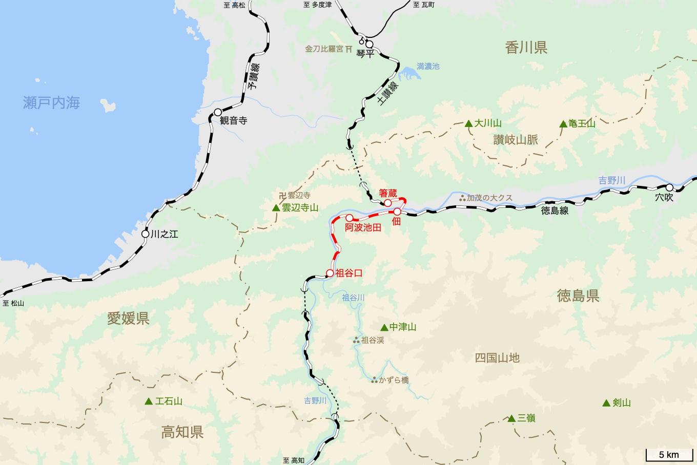 土讃線の旅 3日目 旅行記&乗車記の地図。