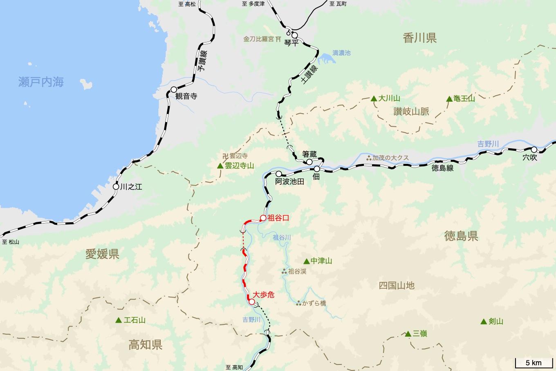 土讃線の旅 4日目 旅行記&乗車記の地図。