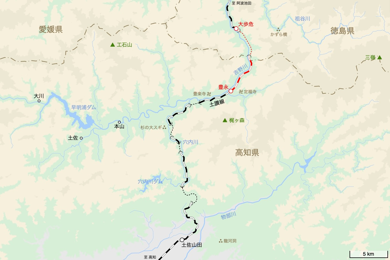 土讃線の旅 5日目 旅行記&乗車記の地図。