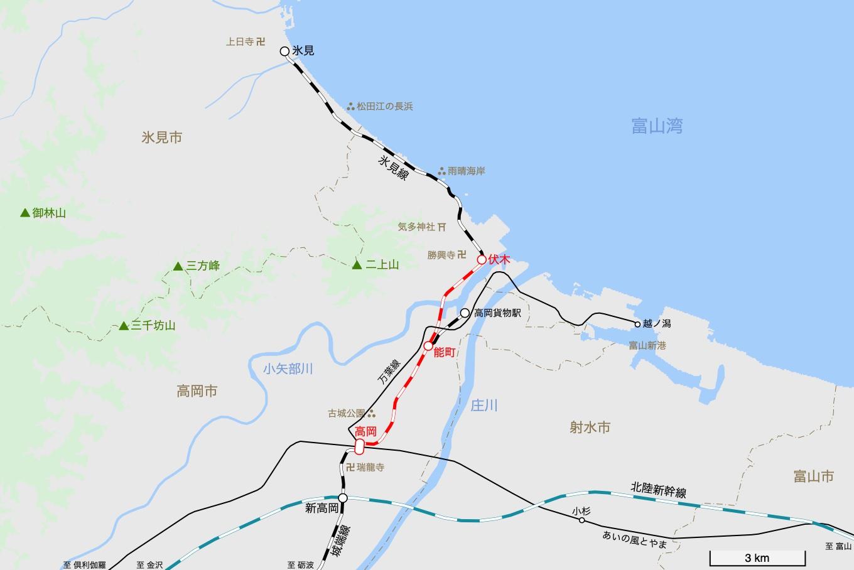 氷見線の旅 1日目 旅行記&乗車記の地図。