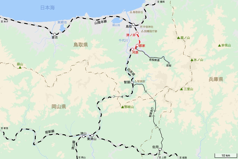 因美線の旅 2日目 旅行記&乗車記の地図。