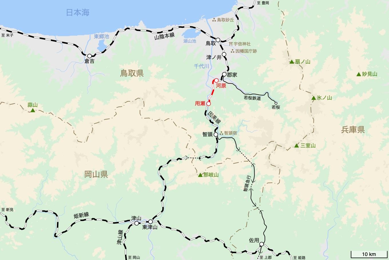 因美線の旅 3日目 旅行記&乗車記の地図。