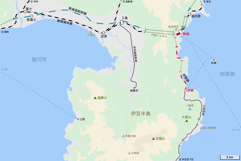 伊東線の旅 旅行記&乗車記の地図。