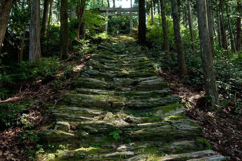 苔むした石畳が続く岩原神社の参道。