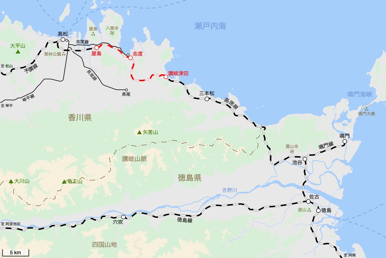 高徳線の旅 2日目 旅行記&乗車記の地図。