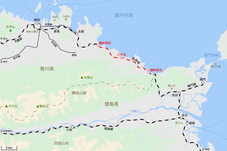 高徳線の旅 3日目 旅行記&乗車記の地図。