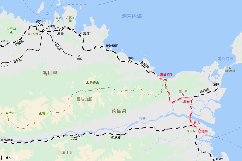 高徳線の旅 4日目 旅行記&乗車記の地図。