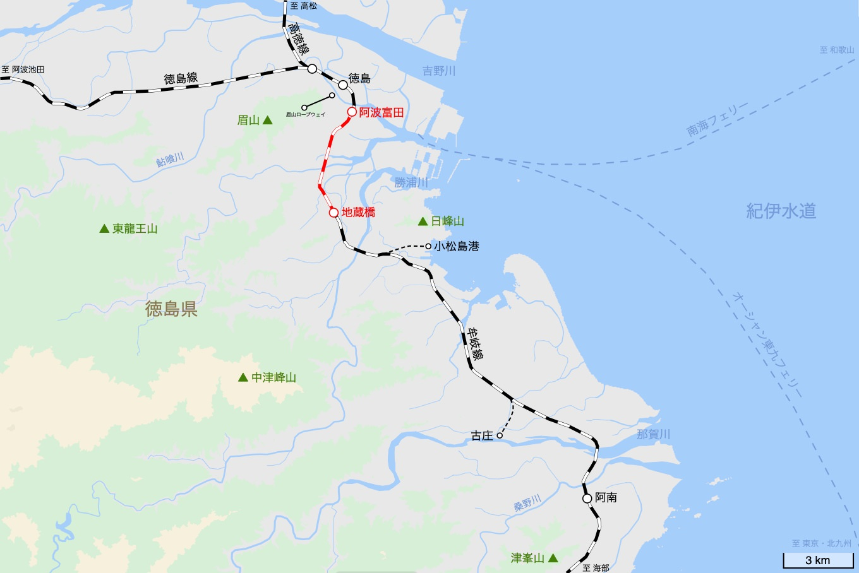 牟岐線の旅 2日目 旅行記&乗車記の地図。