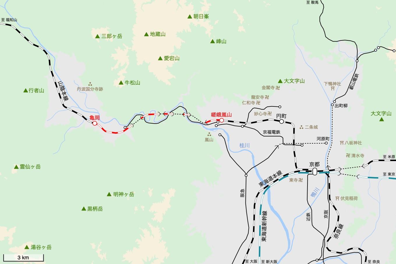 山陰本線の旅 3日目 旅行記&乗車記の地図。