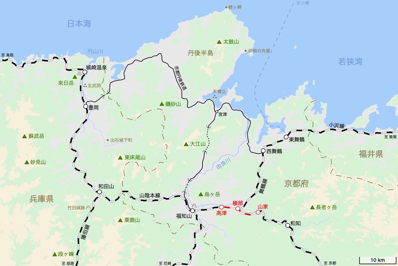 山陰本線の旅 8日目 旅行記&乗車記の地図。
